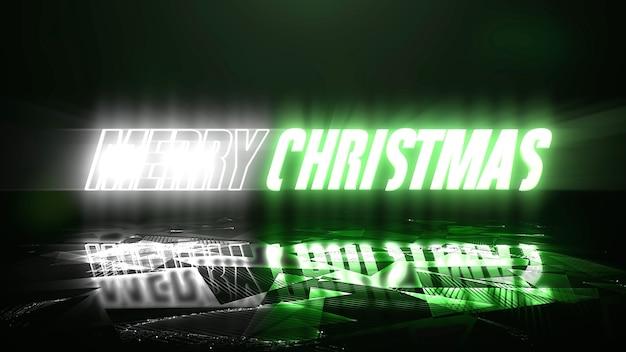 Tekst vrolijk kerstfeest en neonlicht, abstracte achtergrond. elegante en luxe dynamische clubstijl 3d illustratie