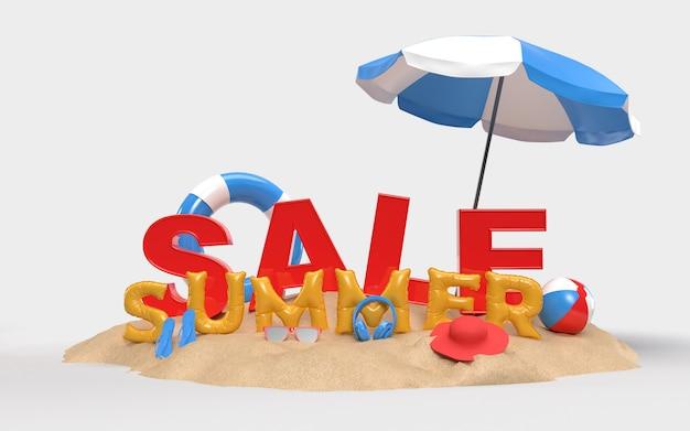 Tekst zomer sale op zand met strand accessoires