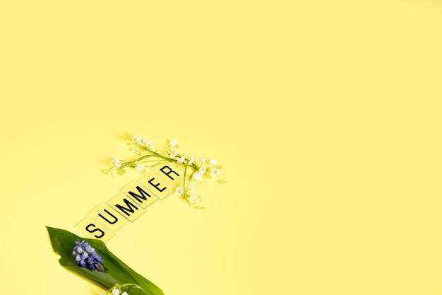 Tekst zomer uit brieven en veld chamomiles bloemen op gele achtergrond wenskaart flat lay kopie ruimte concept hallo zomer zomer