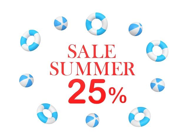 Tekst zomerkortingen vijfentwintig procent omringd door strandballen