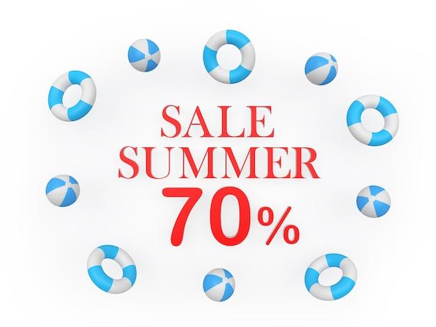 Tekst zomerkortingen zeventig procent omringd door strandballen