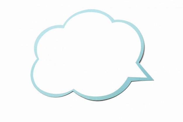 Tekstballon als een wolk met blauwe rand geïsoleerd