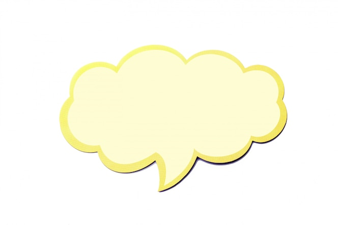 Tekstballon als een wolk met gele rand geïsoleerd op een witte achtergrond