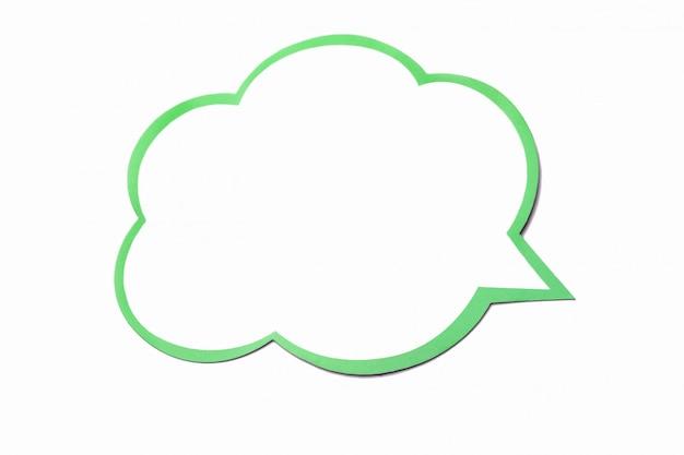Tekstballon als een wolk met lichtgroene rand geïsoleerd op wit