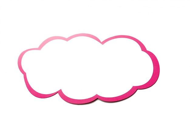 Tekstballon als een wolk met roze rand geïsoleerd op een witte achtergrond. kopieer ruimte
