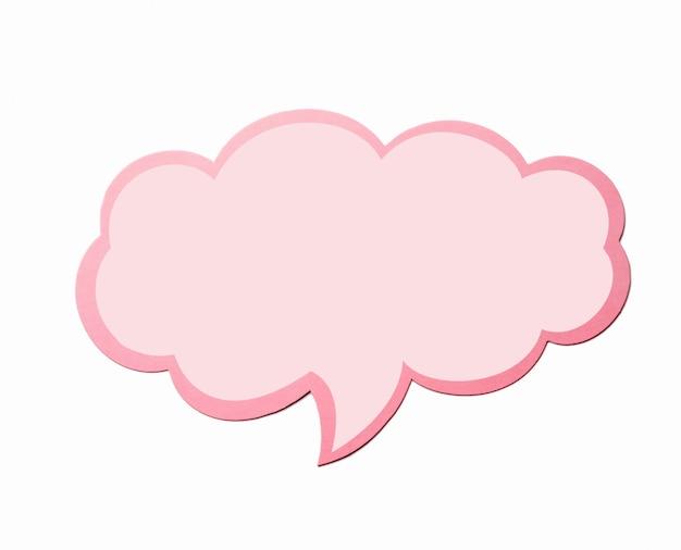Tekstballon als een wolk met roze rand geïsoleerd