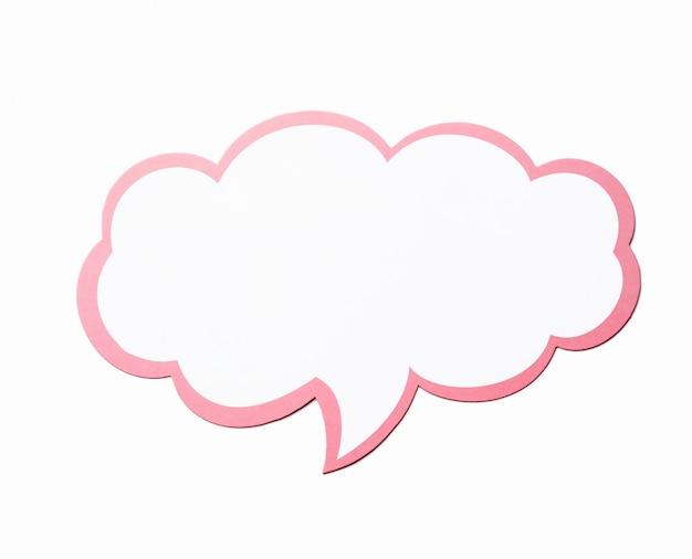 Tekstballon als een wolk met roze rand