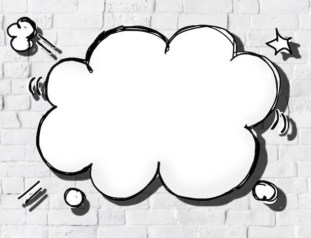Tekstballon in wolkvorm op bakstenen muur