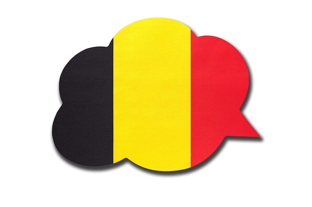 Tekstballon met belgische nationale vlag. symbool van land. spreek en leer de belgische taal.