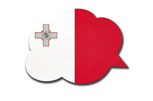 Tekstballon met de nationale vlag van malta geïsoleerd op een witte achtergrond