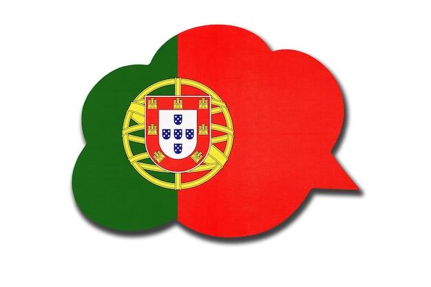 Tekstballon met de vlag van portugal geïsoleerd op een witte achtergrond