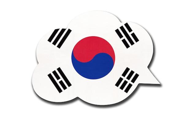 Tekstballon met nationale vlag van zuid-korea of rok