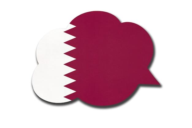 Tekstballon met qatari nationale vlag geïsoleerd op een witte achtergrond