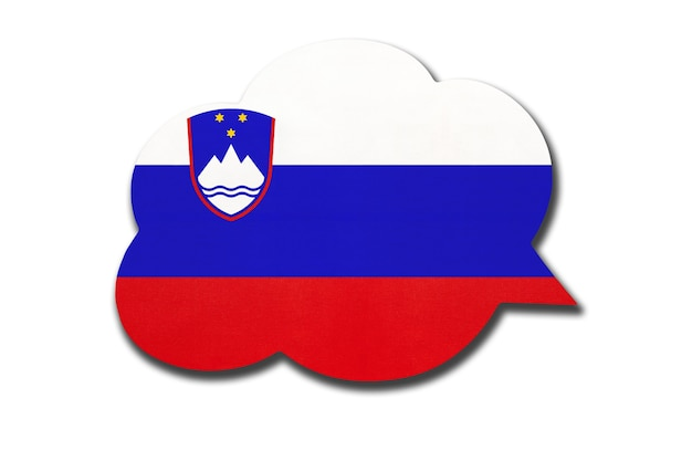 Tekstballon met slovenië vlag geïsoleerd op witte achtergrond white