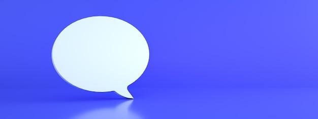 Tekstballon over blauwe achtergrond, 3d render, panoramisch beeld