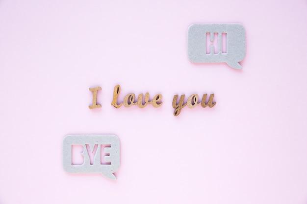 Tekstballonnen in de buurt ik hou van je schrijven