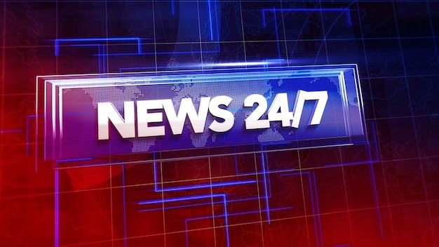 Tekstnieuws 24 en nieuwsafbeelding met lijnen en wereldkaart, abstracte achtergrond. elegante en luxe 3d-illustratiestijl voor nieuwssjabloon