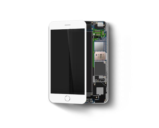 Telefoon binnen, chip, moederbord, processor, cpu en details, geïsoleerd