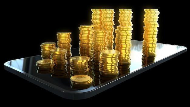 Telefoon en geld - 3d illustratie