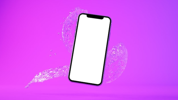 Telefoon en water splash mockup 3d-rendering