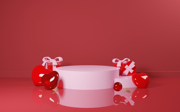 Telefoon en winkelkar vol met cadeau- en liefdesvorm valentijnsdag verkopen design concept - 3d rendering