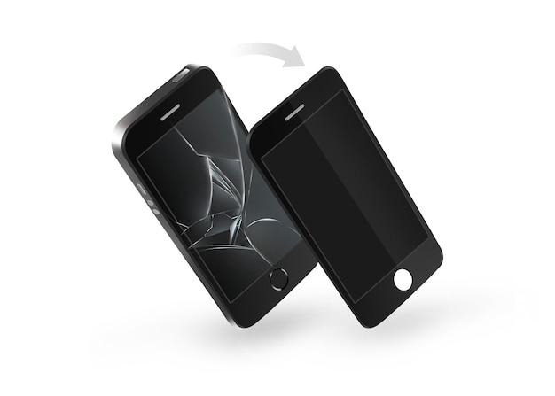 Telefoon gebroken scherm reparatie geïsoleerd