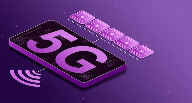 Telefoon met 5g biedt communicatie met 3d-services