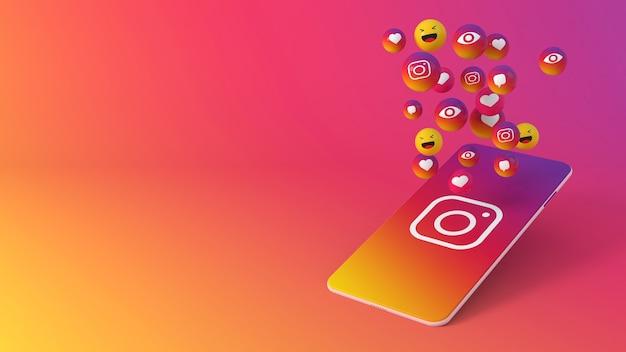 Telefoon met instagram-pictogrammen die opduiken