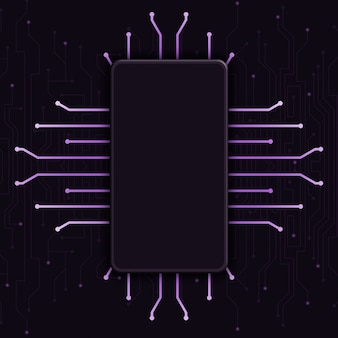 Telefoon met leeg scherm op technische achtergrond, cpu-ontwerp 3d