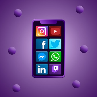 Telefoon met social media iconen