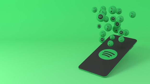 Telefoon met spotify-pictogrammen die opduiken