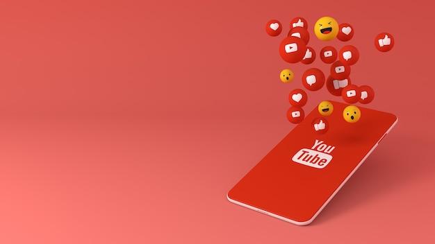 Telefoon met youtube-pictogrammen die opduiken