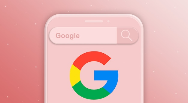 Telefoon met zoekbalkverzoek en logo van het sociale netwerk google 3d