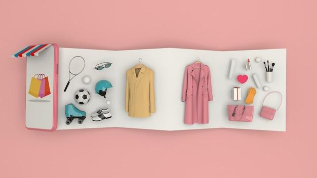 Telefoon om inhoud in te voeren omringd door boodschappentassen, winkelwagentjes op muur-3d-rendering. - 3d illustratie