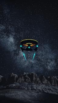 Telefoon wallpaprer of science fictief beeld van een diep ruimteschip en een melkweg