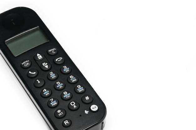 Telefoonhoorn voor oproepen naar stedelijke e-lijnen op een witte geïsoleerde achtergrond
