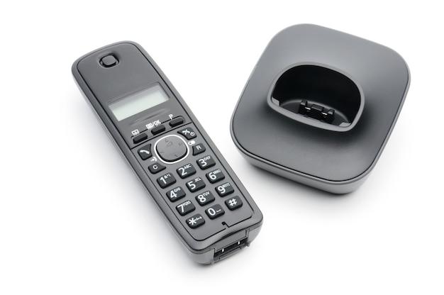 Telefoonhoorn voor oproepen naar stedelijke en interlokale lijnen op een wit