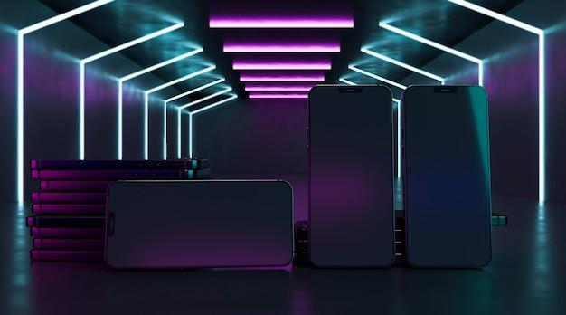 Telefoonontwerpen in neonlichten