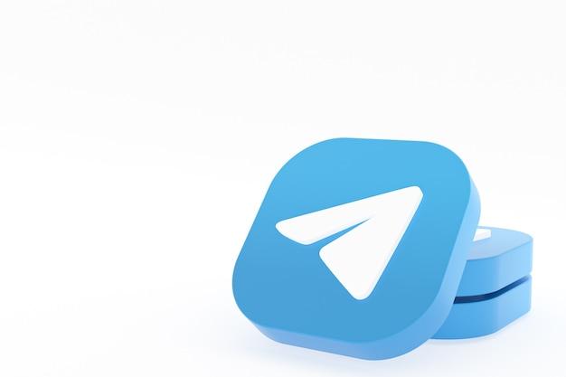 Telegram applicatie logo 3d-rendering op een witte achtergrond