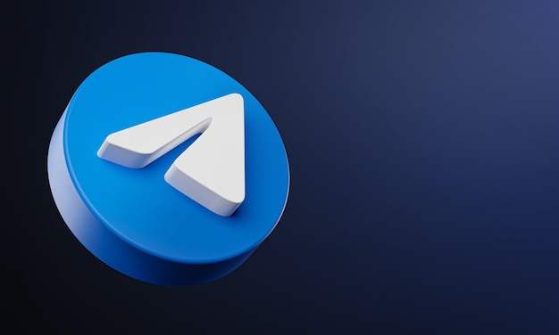 Telegram circle button icon 3d met kopie ruimte