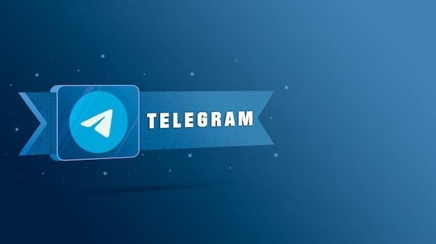 Telegram-logo met de inscriptie op de technologische plaat 3d