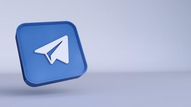 Telegram-logo minimaal eenvoudig ontwerpsjabloon. kopieer ruimte 3d