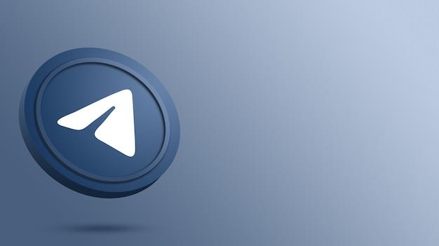 Telegram-logo op de weergave van de ronde knop
