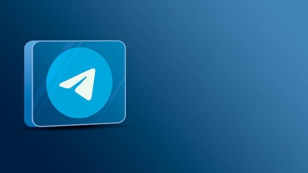 Telegram-logo op een glazen platform 3d