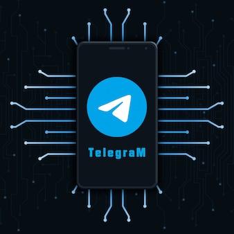 Telegram-logo pictogram op het telefoonscherm op technische achtergrond 3d