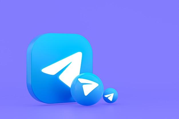 Telegram minimaal logo 3d-rendering close-up voor achtergrond ontwerpsjabloon
