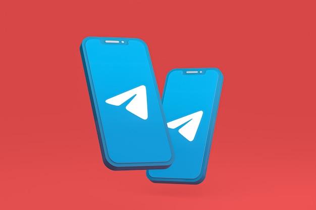 Telegram-pictogram op scherm mobiele telefoons 3d render
