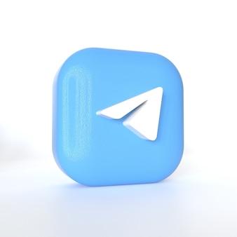 Telegram-toepassingslogo met 3d-weergave