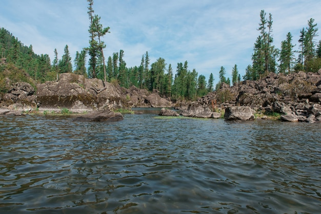 Teletskoyemeer in altai-bergen