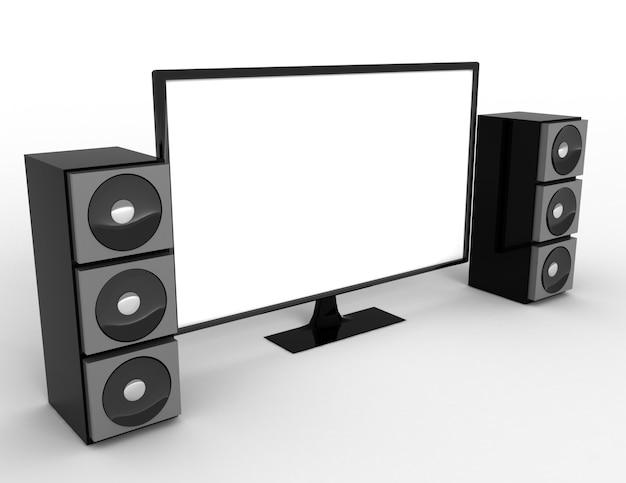 Televisie met surround sound-luidsprekers